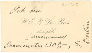 W. E. B. Du Bois's visiting card